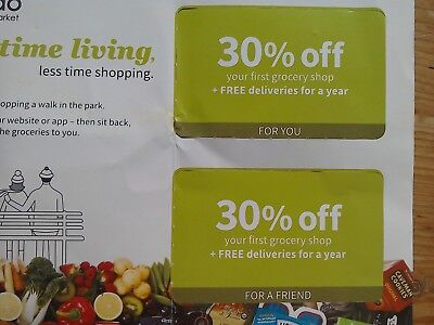 OCADO 30% OFF Groceries & £0 delivery for a year. Voucher. Order by 27.01.19.