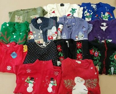 ~ CC ~ Lot x 13 ~ Genuine ~ Vintage ~ Christmas ~ Jumpers ~ Cardigans ~ Defects