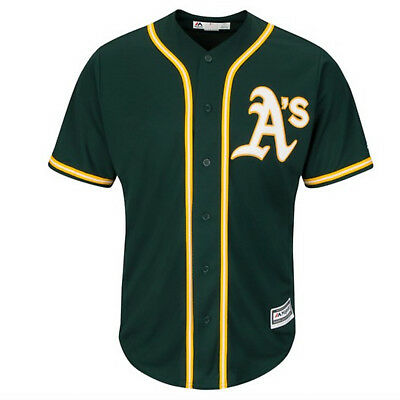 Majestic Men's Oakland Athletics Replica Cool Base Alternate Jersey Green Yellow