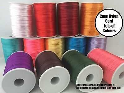 5/10 Metre Nylon Cord 2mm Lots of Colours for Silicone Bead Necklace Jewellery