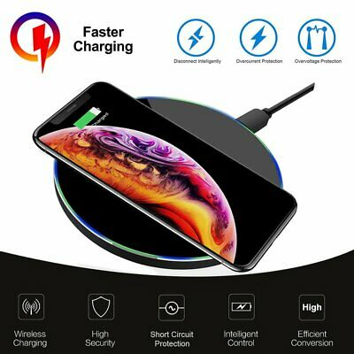 Tempered Glass Mirror Fast Qi Wireless Charger Pad For iPhone XS Max X 7 8 Plus