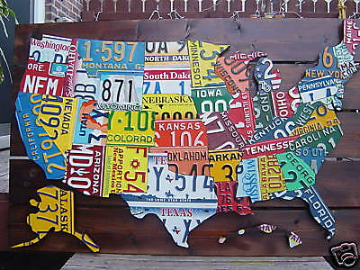 3D-USA LICENSE PLATE MAP ART -METAL WALL ART- ALL 50 STATES- (Pub Bar Art)