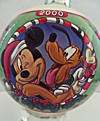 Vtg 2000 Disney Mickey Mouse Pluto Candy Cane Duck Glass Ball Christmas Ornament