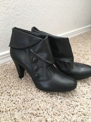 Gianni Bini Leather Button Ankle Boots, Black—6.5