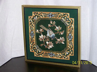 """""""Old"""" Chinese Gold Thread on Silk Hand Sewn Tapestry of """"Bird In Flowers"""" Framed"""