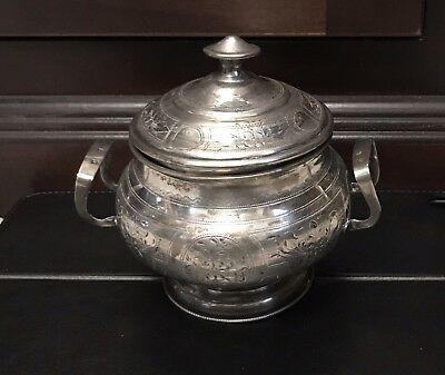 Antique Solid Silver Sugar Box From Russia - 233 Gram Total