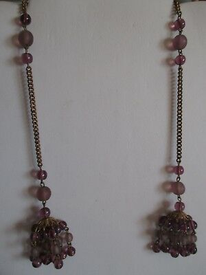 """Vintage gold tone open end necklace, purple beads, tasseled ends, 26"""""""