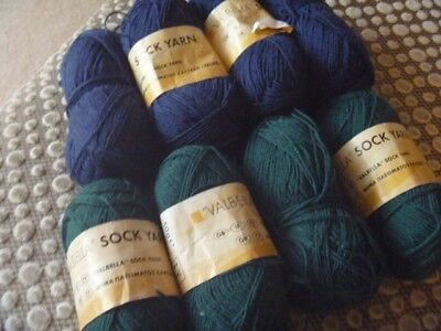 8 x 50gms of sock wool navy and green.
