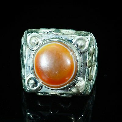 Ancient Protect Rare Orange Eye Agate Sterling Silver Powerful Ring Ottoman