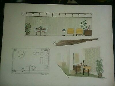 Signed Hand Drawn Painted Architectural Mid Century Modern Atomic AGe 1959 Art