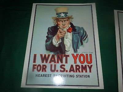 """Vtg 1979 UNUSED Uncle Sam """"I Want You For U.S. ARMY"""" RECRUITING STATION POSTER"""