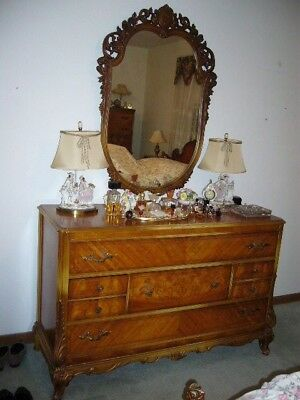 French Antique Maple Bird's Eye 6 pc. Bedroom Set w/Attached Mirror Swan Sides