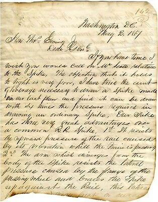 Inventor George McGill writes to Gen. Ewing about improving railroad spikes 1867