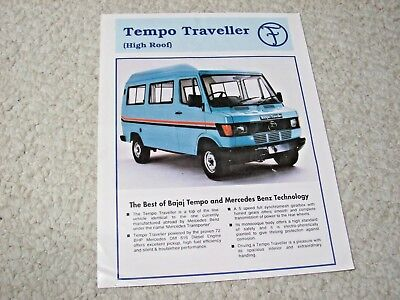 1996 Tempo High Roof (India) Sales Brochure..