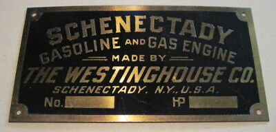 SCHENECTADY GASOLINE & GAS ENGINE Brass Tag Antique Hit Miss NEW -OLD-STOCK