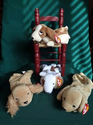 Ty Beanie Babies Dogs Lovers Lot of 4 Includes Spunky The Cocker Spaniel-Retired