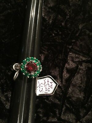 Size 5 3/4 Emerald Green, Red Color Glass Ring - Silver Plated - Handmade NEW