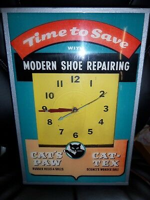 Vintage Time To Save Modern Shoe Repairing Clock Cat's Paw Cat-Tex Tel-A-Sign