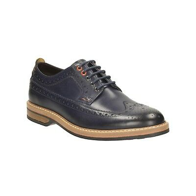32838a169f05 Men s Clarks PITNEY LIMIT Dark Blue Leather Smart Casual Brogue Shoes