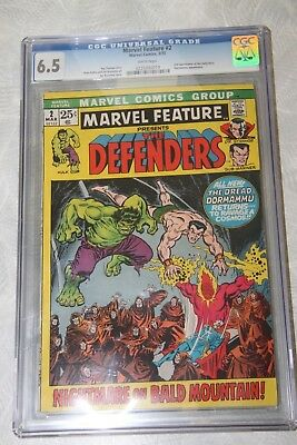 The Defenders Marvel Feature #2 CGC Grade 6.5 Comic Book March 1972 3/72 FN+
