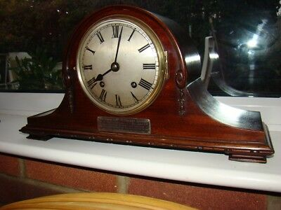 Quality 8 day strike mahogany mantel clock in working order mov't by Empire