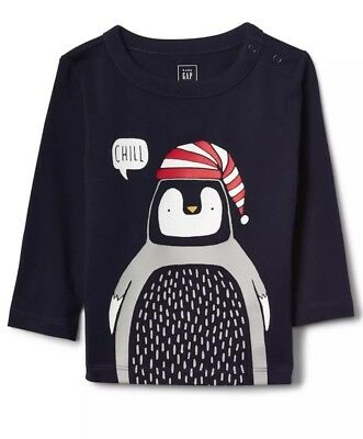NWT Baby GAP Boy Penguin Chill Navy Blue Long Sleeves Shirt 6-12 Month
