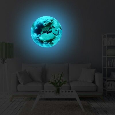 3D 30cm Luminous Earth Wall Sticker Glow in the Dark Vinyl Decal Kids Room Decor