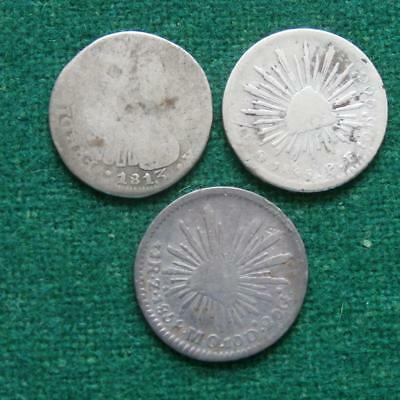1813 Zs  55 Zs  & 58 Go  Mexico 1 Real   silver coin Caps & Rays