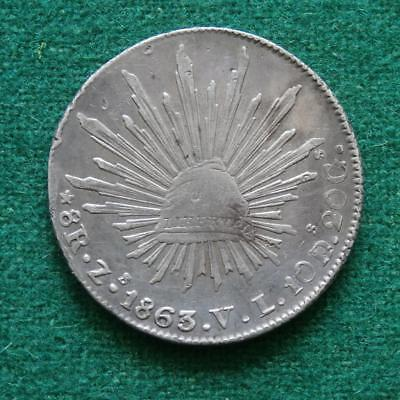 1863 MEXICO SILVER  8 Reales  Coin Zs VL Zacatecas Caps & rays