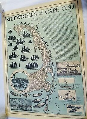 Antique Map Of Shipwrecks Of Cape Cod Chart Fo'c'sle Hayannis Mass