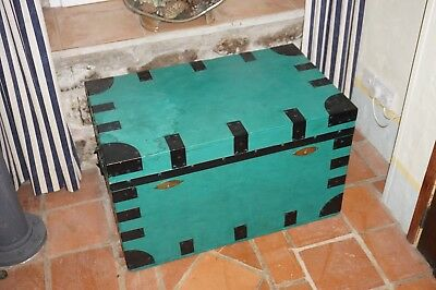 Zinc lined wooden chest painted John Parsons and Son