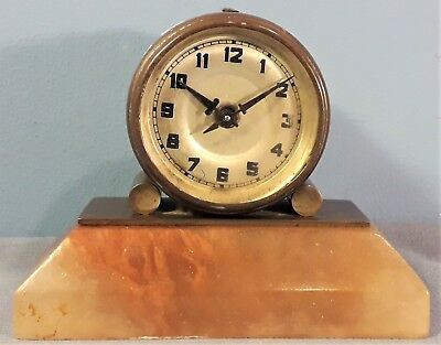 Antique Small Mechanical Desk/Mantle Clock, Brass Case, Onyx base, Working order