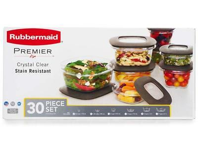 Rubbermaid Premier Food Storage Containers 30-Piece Set Clear Base Gry Lid - NEW