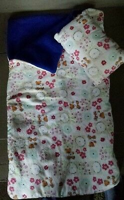 Handmade 18 In Doll  SLEEPING BAG AND PILLOW Fits American Girl