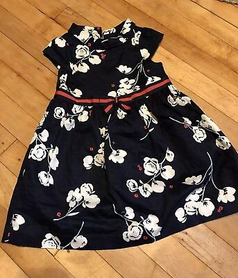 EUC Janie and Jack 18 24 M Floral Cotton Holiday Dress bloomers navy pink
