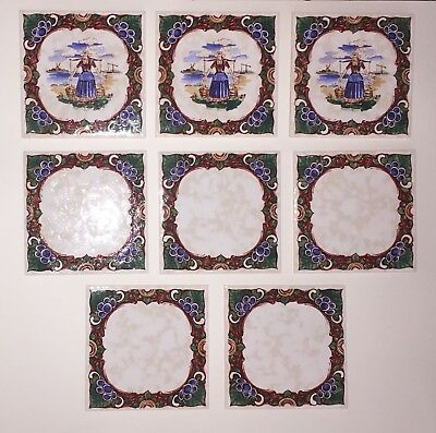 NOS Lot of 8 Antique Vintage Villeroy & Boch Hand Painted Tiles Germany