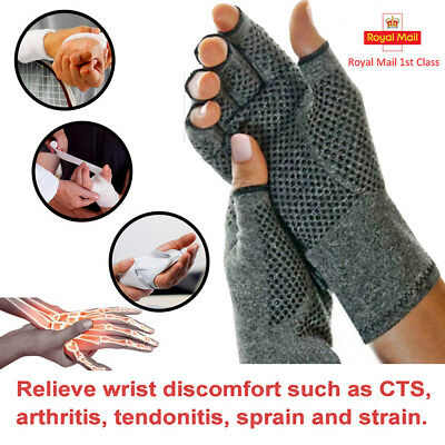 PAIR Copper Compression Arthritis Gloves Finger Wrist Support Carpal Pain Relief