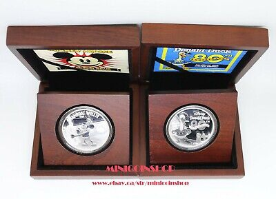 2014 Disney Mickey Mouse Steamboat Willie&Donald Duck 80th Anni Silver Coin set