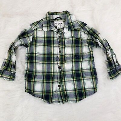 The Childrens Place Boys Flannel Shirt Size 3T Green Plaid Long Sleeve Button Up