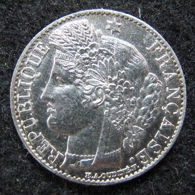 1881a France 50 Centimes Extremely Nice Higher Grade Silver Coin AU  KM 834.1