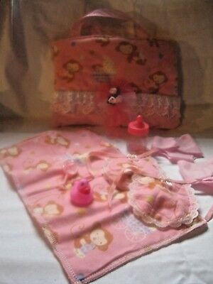 """Handmade Monkey diaper bag with accessories.Fits 9-10"""" baby dolls"""