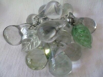 Vtg. MURANO Hand Blown Clear GLASS 17 GRAPE Cluster ON WIRE Italy w/ 2 leaves
