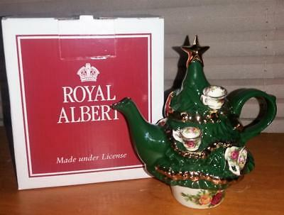 Royal Albert Miniature Teapot of Christmas Tree with Tea Cup Ornaments