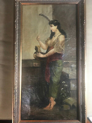 "Magnificent ""Female With Harp Scene"" Oil On Canvas Painting - Signed And Framed"