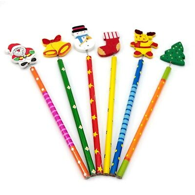 5Pcs Funny Christmas Character Wood Pencil Stocking Filler Party Supply Toy Gift