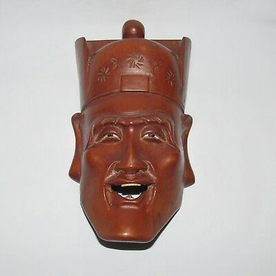 quality DETAIL WOOD CARVING WALL MASK NOH DRAMA JAPANESE CHARACTER