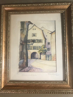 """Leonhard 1936 """"Street Scene"""" Watercolor Painting - Signed And Framed"""