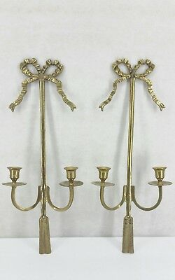Pair Vintage Brass Double Arm Candle Holder Wall Sconces with Bow