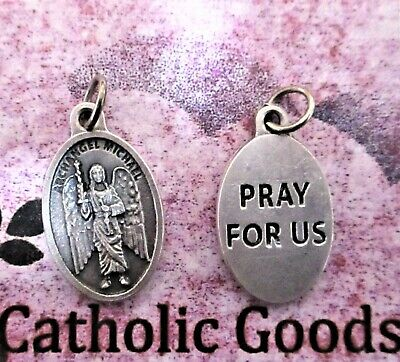 "St. Saint Michael the Archangel - Pray for Us -Die-Cast Silver-tone OX 1"" Medal"