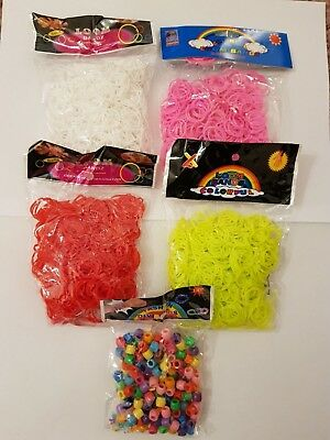 600pcs Loom Bands Rubber Colourful KIT with 24 S-Clips & Tool/Beads*Multi Buy*